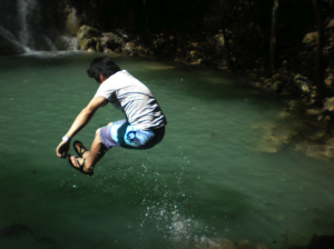 Yasuhiro - taking a dip