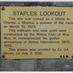 Staples Lookout Dedication