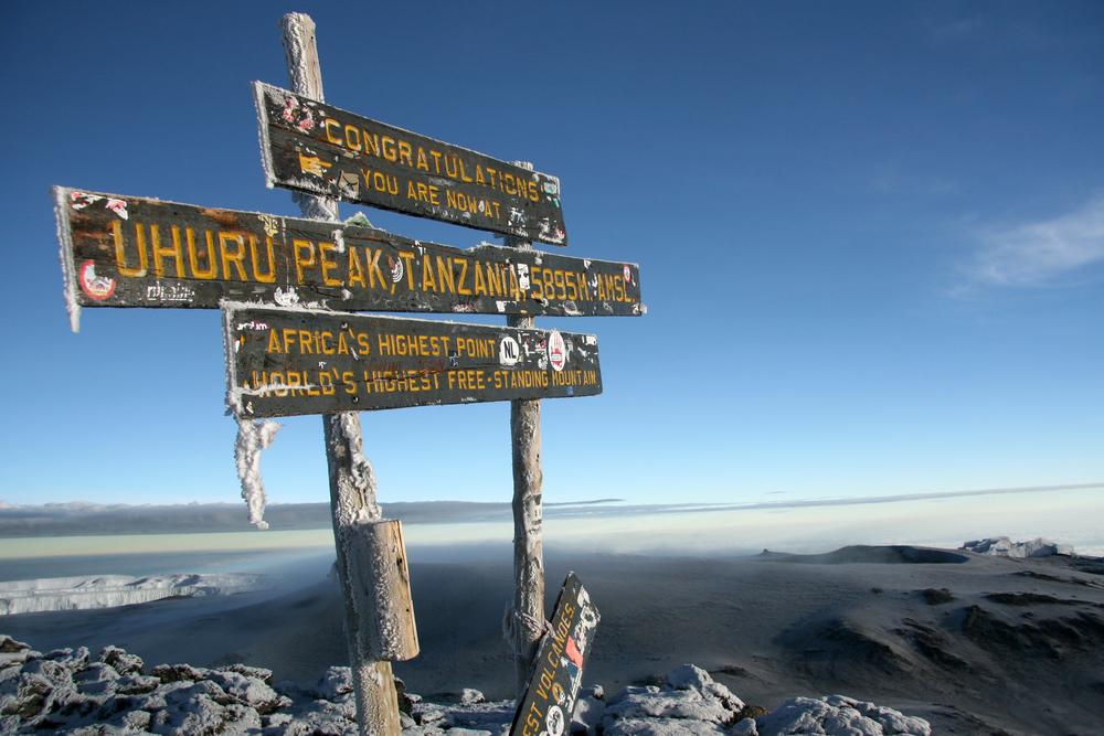 The Snowy Peak of Mt Kilimanjaro in Tanzania, Africa