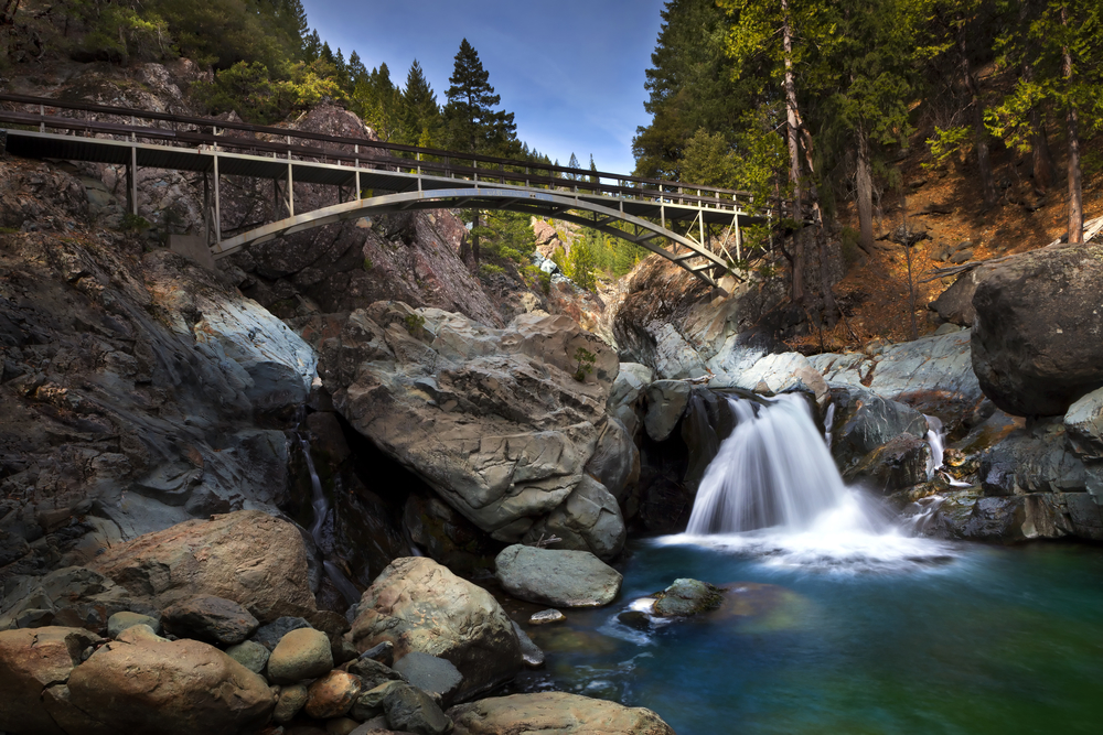 Water Fall with Foot Bridge crossing. Part of the Pacific Crest Trail.