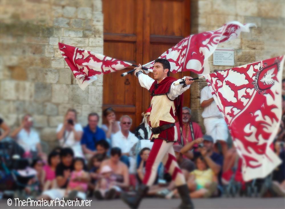 Flag Twirlers in  San Gimignano